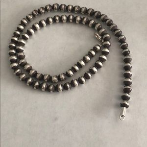 "Jewelry - 19"" long Navajo style Pearls 6mm sterling Silver"